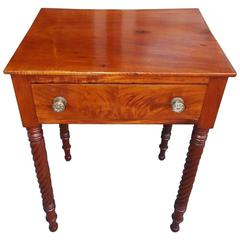 American Mahogany One Drawer Barley Twist Side Table, Circa 1810