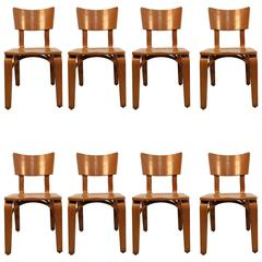 Eight Beautiful Bentwood Chairs by Thonet, USA, 1950s