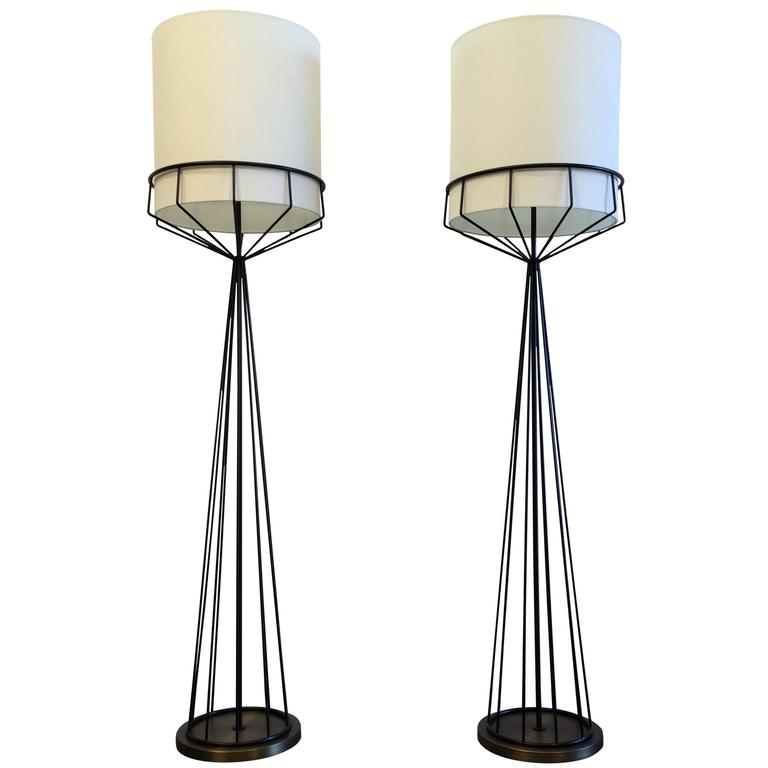 Great Pair Of Floor Lamps In Mid-Century Modern Style For