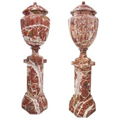 Monumental Pair of Breccia Marble Covered Urns on Pedestals