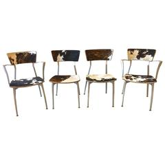 Mid-Century Modern Sand-Cast Aluminum Set of Four Chairs in Cowhide Upholstery