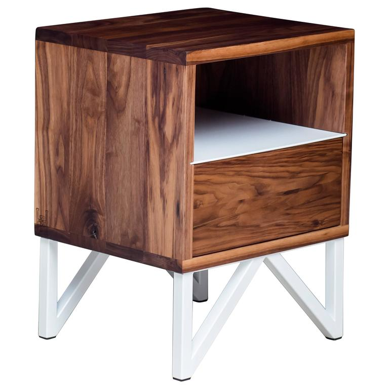 The Truss, Modern Walnut and Powder Coated Steel Side Table