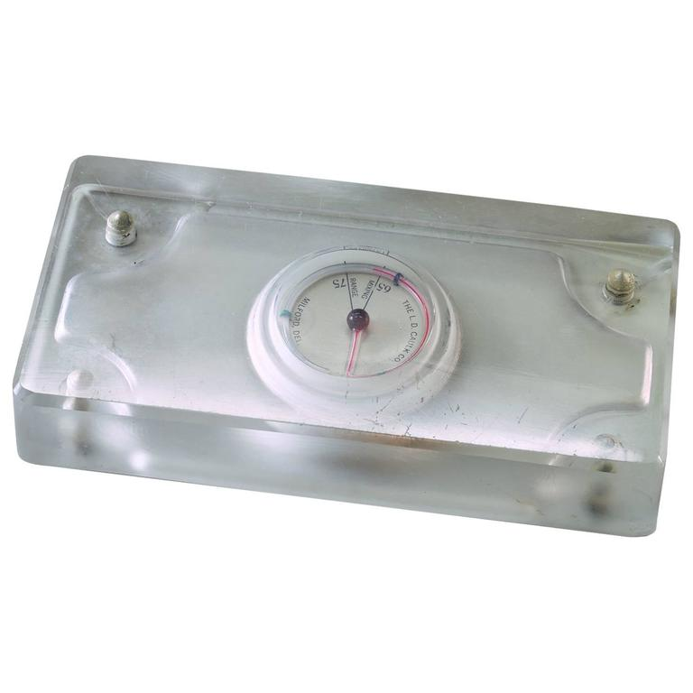 1920s Dental Paperweight Sculpture Glass Slab Temperature Gauge Thermometer
