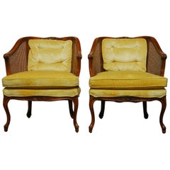 Pair of Mid-Century Cane Barrel Back Armchairs