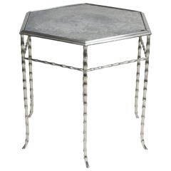 Hexagonal Chrome Table with Antiqued Mirror Top by Bagues
