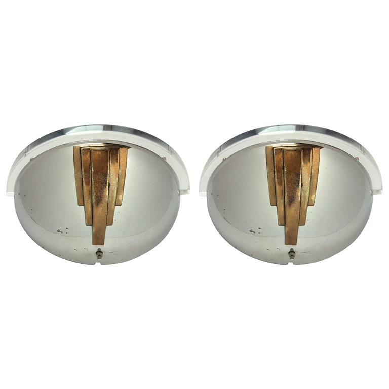 Pair of Nickel-Plated Wall Sconces in the Style of Karl Springer, 1950, USA For Sale at 1stdibs
