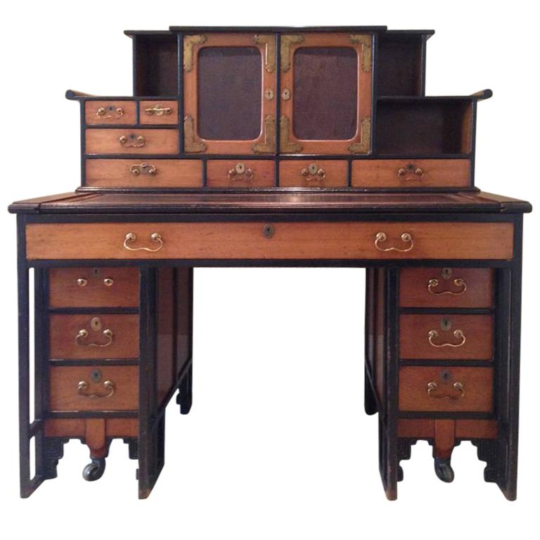 Rare walnut desk in the anglo japanese style designed by for Asian inspired desk