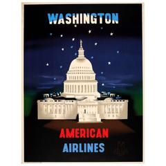 Original Vintage Travel Advertising Poster for Washington by American Airlines