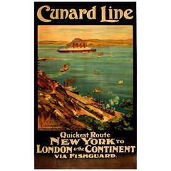 Original Cunard Line Cruise Ship Travel Poster - A Cunarder in Fishguard Harbour