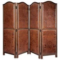 Art Nouveau Period Leather and Mahogany Four Fold Screen