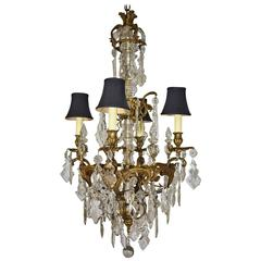 Large French Bronze Four-Arm Chandelier with Large Shaped Cut Crystals