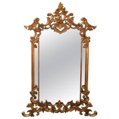 Large Carved Giltwood Rococo Style Mirror