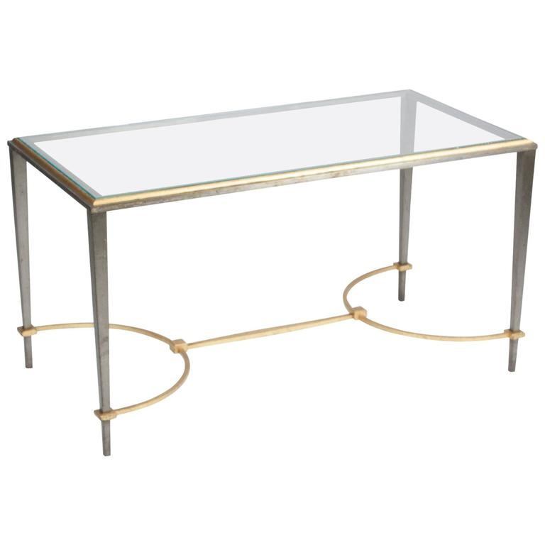 Bronze And Chrome Glass Top Coffee Table By Maison Charles For Sale At 1stdibs