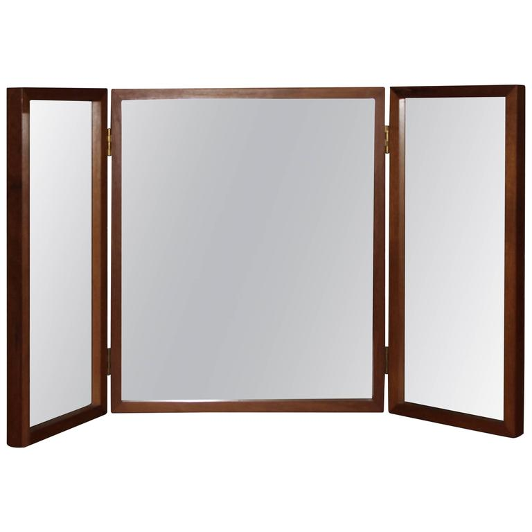 Danish Teak Folding Vanity or Wall Mirror