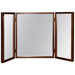 Danish Teak Folding Vanity or Wall Mirror