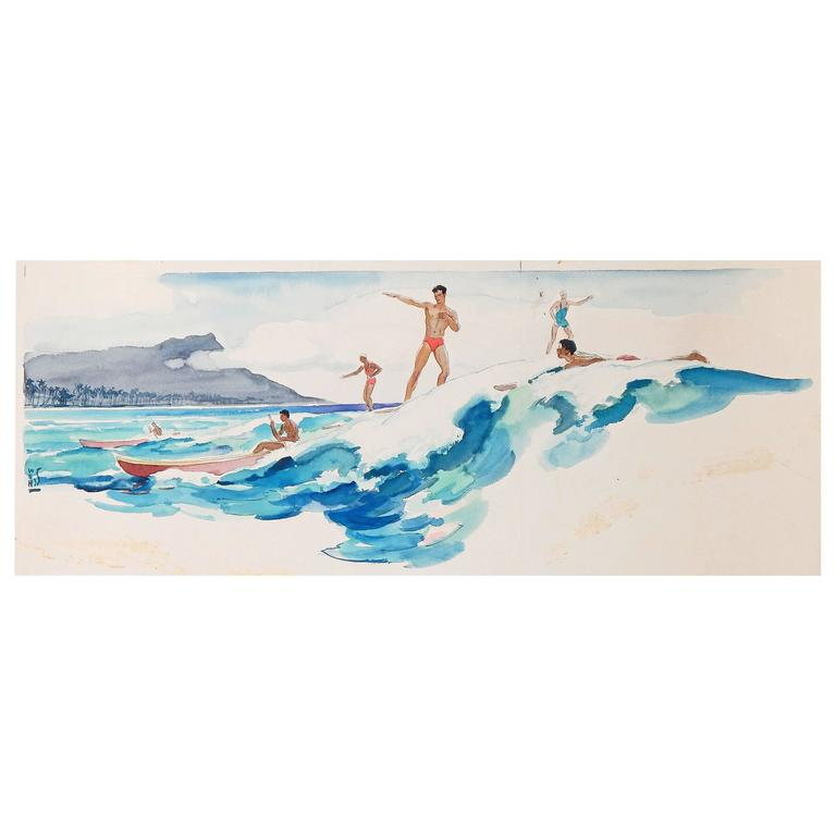 """Surfing at Waikiki, 1935,"" Large, Brilliant Art Deco Watercolor Ptg. in Hawaii For Sale"