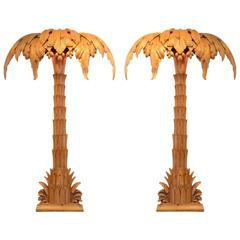 Palm Trees Floor Lamps by Maison Jansen