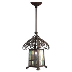 Early 1900 Huge Arts & Crafts Wrought Iron Lantern / Pendant with Stained Glass