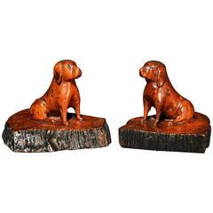English Oak Treen Sculptures of Pugs