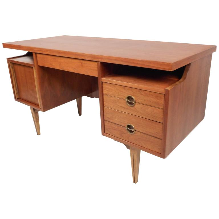 Mid Century Modern Walnut Desk By Furniture For