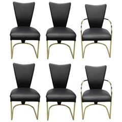 Set of Six Leather Design Institute of America 'DIA' Dining Chairs in Brass