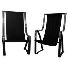 Art Deco Pair of Sling Chairs Designed by Salvatore Bevelacqua