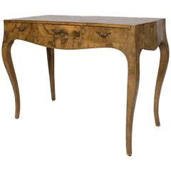 Mid-20th Century Italian Burled Olive Wood Desk