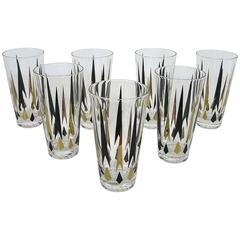 1960s Retro Geometric Highball Glasses, Set of Seven