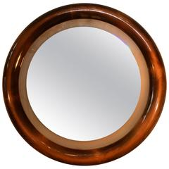 Italian Round Backlight Mirror in Beechwood