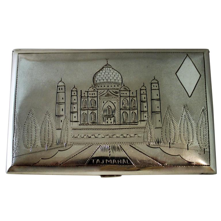 Silver Cigarette Case of Taj Mahal For Sale