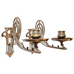 Two Jugendstil Bronze Piano Candleholder