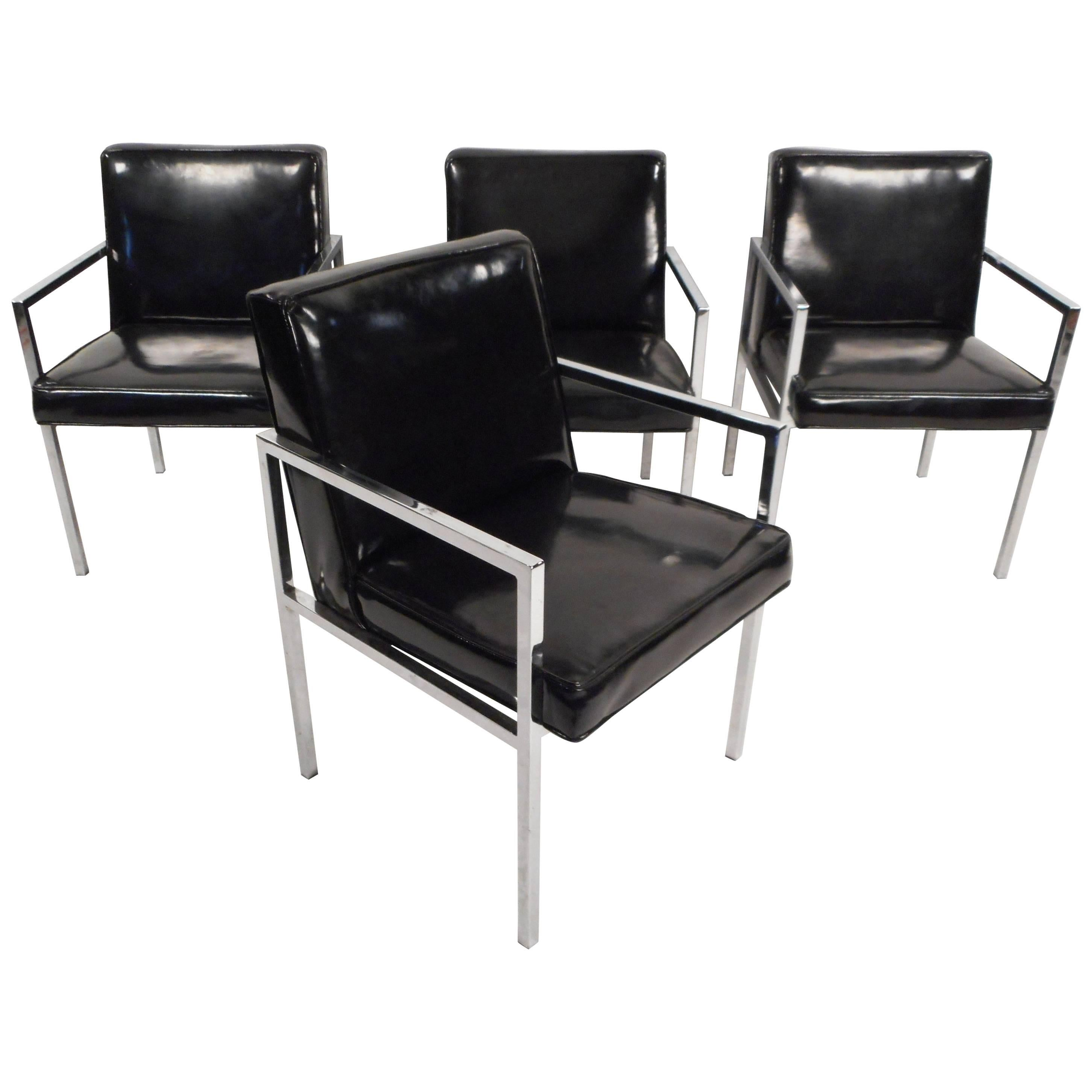 Set Of Mid Century Modern Vinyl And Chrome Dining Chairs For Sale At
