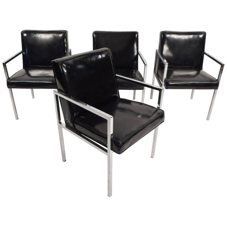 Set of Mid-Century Modern Vinyl and Chrome Dining Chairs For Sale