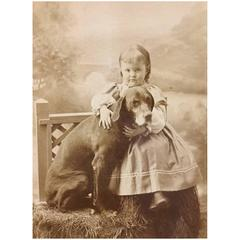 Large Carte De Visite Child and Dog Maine