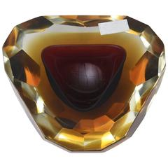 Italian Murano Diamond Faceted Polished Top Geode Sommerso Glass Bowl