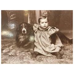 Early Dog Photograph CDV with Little Person