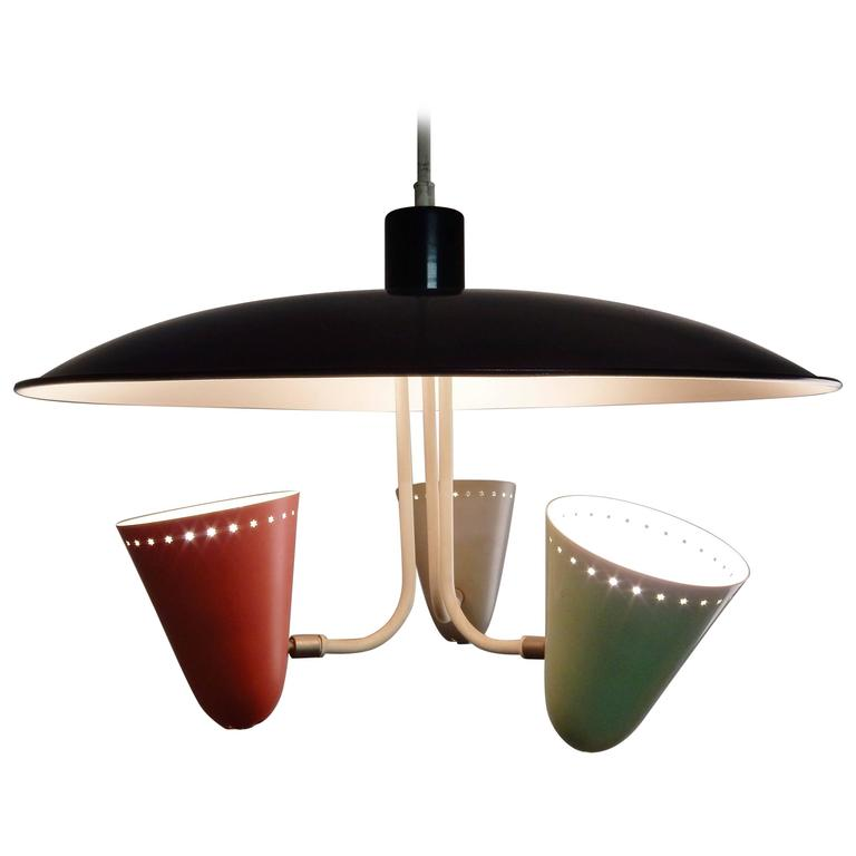 Three-Shade Pendant Light by H. Busquest for Hala Zeist, Netherlands, 1950s