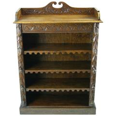 Antique Open Bookcase, Adjustable Shelves, Carved Oak, Scotland 1880 REDUCED!!!
