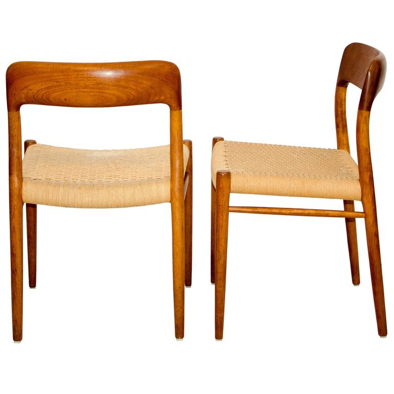 Niels O. Møller Danish Teak Dining Chairs By J. L. Møller For Sale