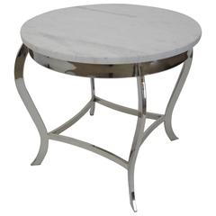 Marble-Top Side Table with Classic Nickeled Frame