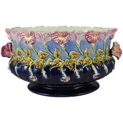 19th French Majolica Morning Glory Jardiniere Orchies