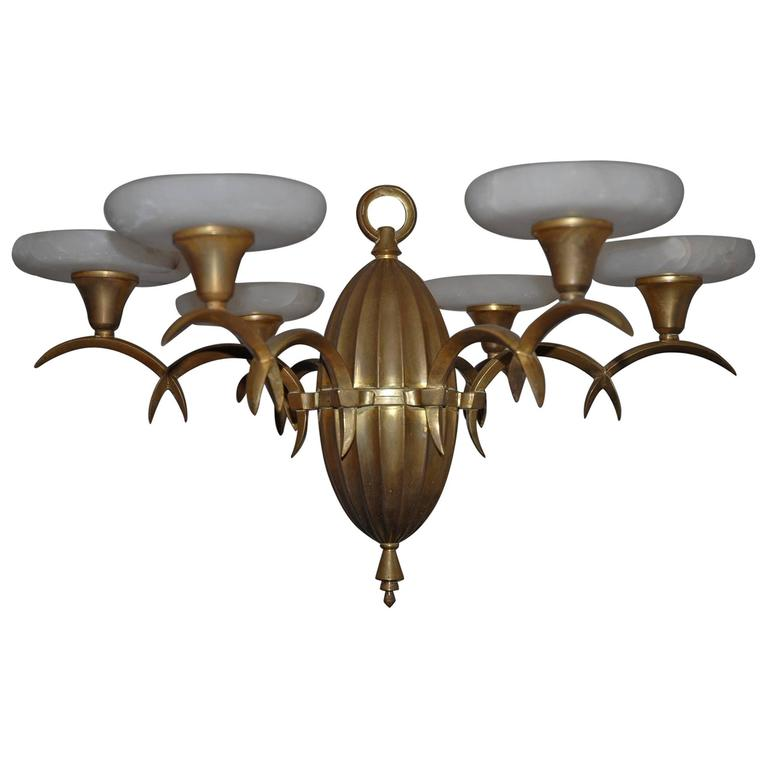 Timless arts and crafts gilt brass and alabaster pendant light by timless arts and crafts gilt brass alabaster pendant light by dagobert peche for sale aloadofball Images