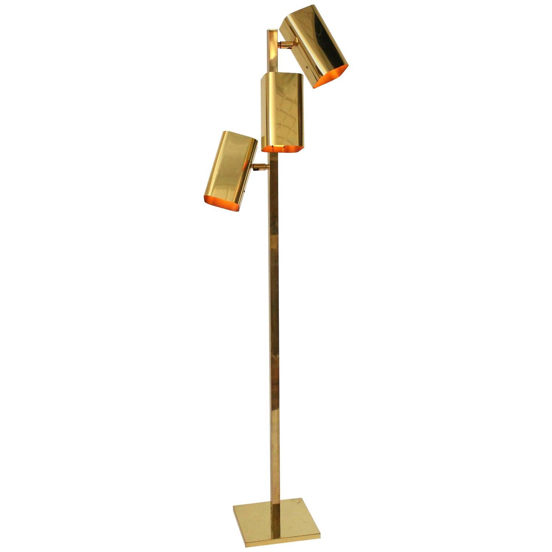Koch And Lowy All Brass Three Heads Floor Lamp 1970s Usa