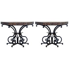Pair of 19th Century French Wrought Iron Trapezoid Marble Slab Console Tables