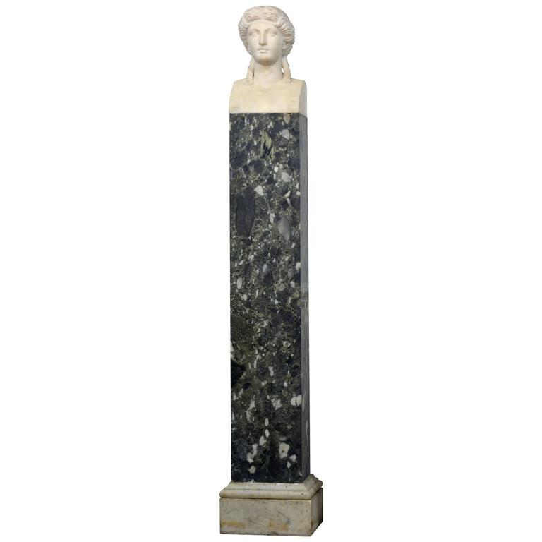19th Century Italian Neoclassical Marble Bust of Nike on a Tall Marble Column For Sale