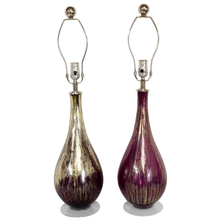 Pair of Contemporary Blown Art Glass Amethyst and 22-Karat Gold Infused Lamps