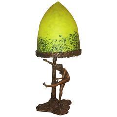 Art Deco Nude Bronze Lamp by Schmidt Kestner with a Pate de Verre Shade