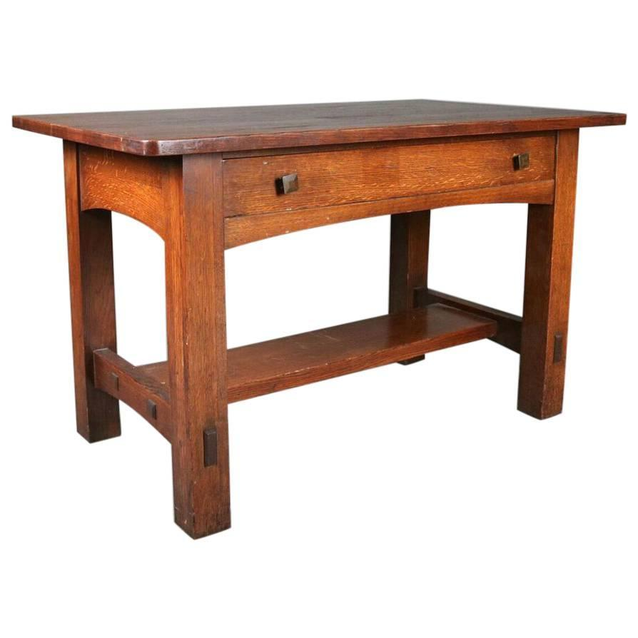 Arts and crafts mission oak desk or table by limbert for Crafting desks for sale