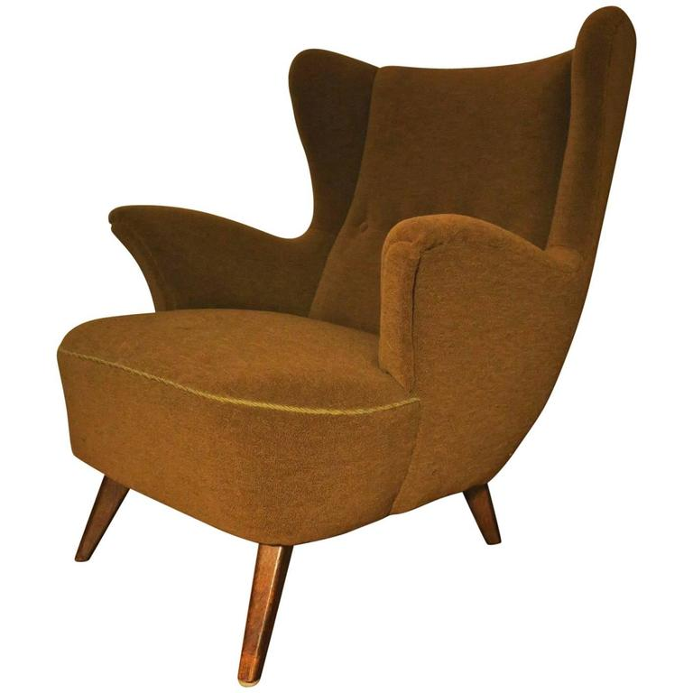 Italian Sculptural Wing Lounge Chair Mid Century For Sale at 1stdibs