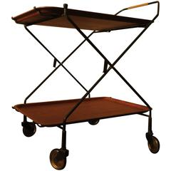 Teak and Iron Folding Serving Trolley, 1960s